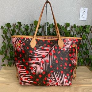 🌺RARE!Louis Vuitton Neverfull MM Jungle Dot Limited Edition Tote Bag EXCELLENT!
